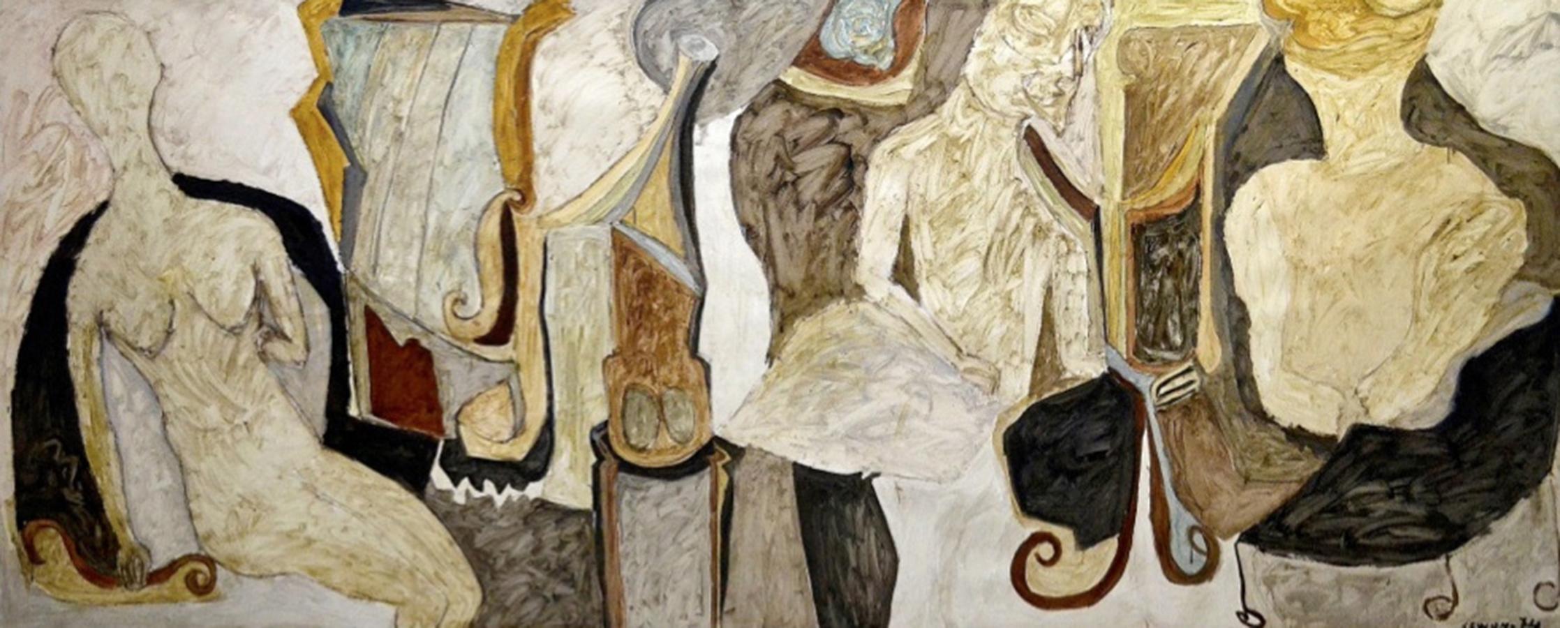 Histoire de Dame 1974 huile/papier marouflé sur toile 170 x 410 cm