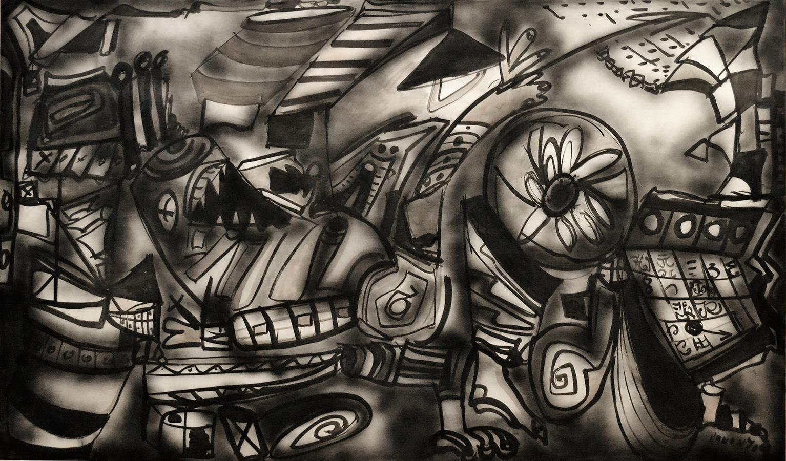 Sans titre 1970 encre/papier marouflé sur toile 170 x 360 cm