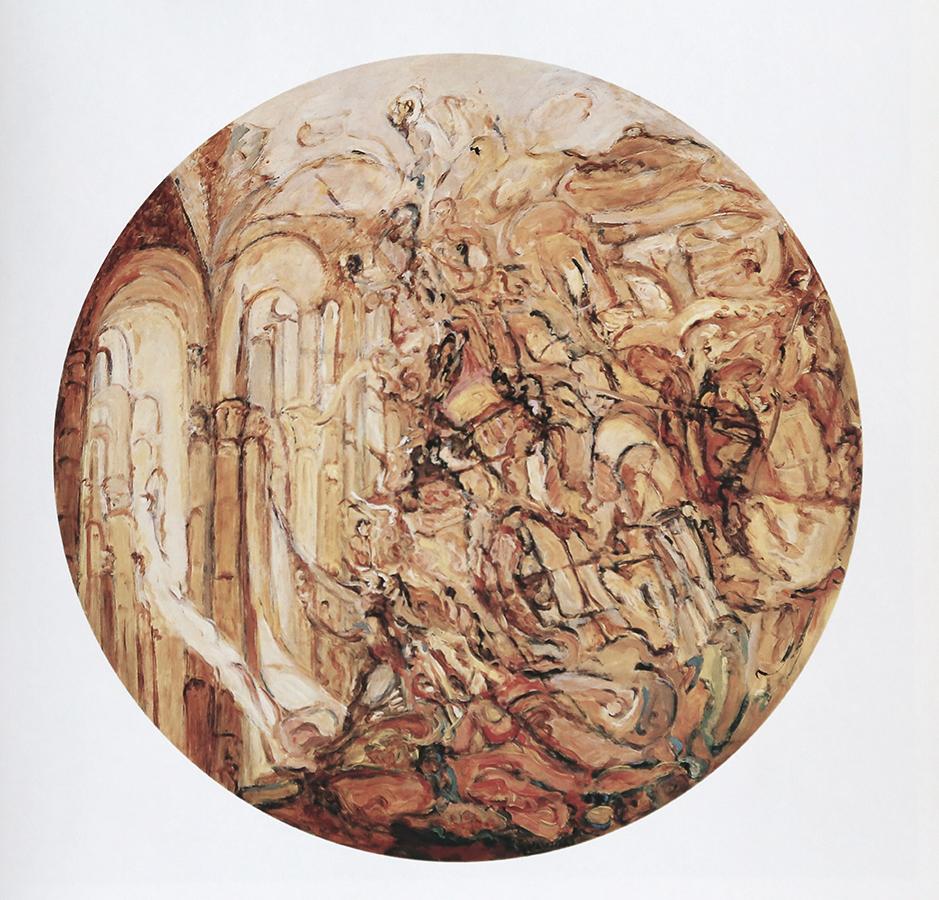 Voyage en Italie 1991 huile/toile 150 cm de diamètre
