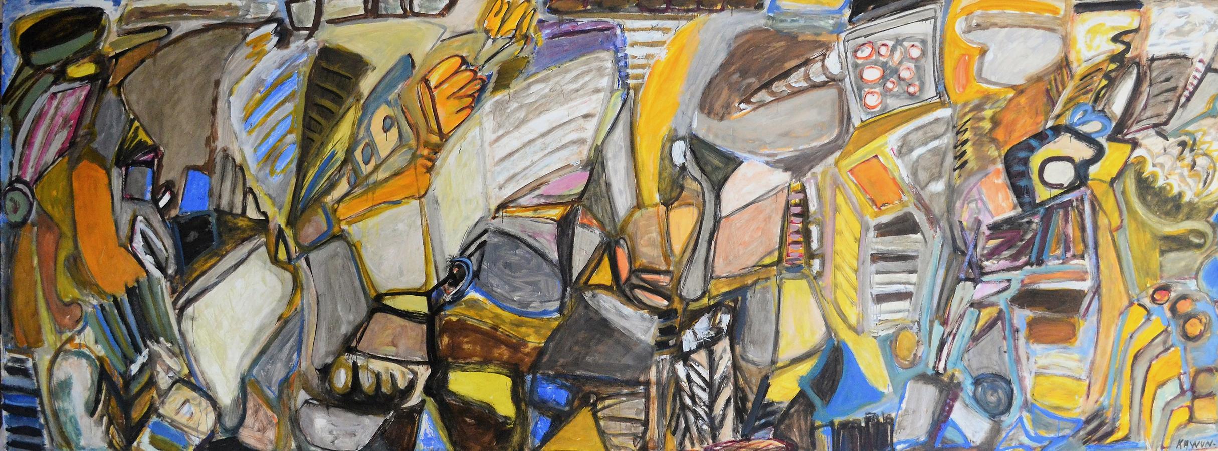 Sans titre 1972 huile/papier marouflé sur toile 170 x 410 cm