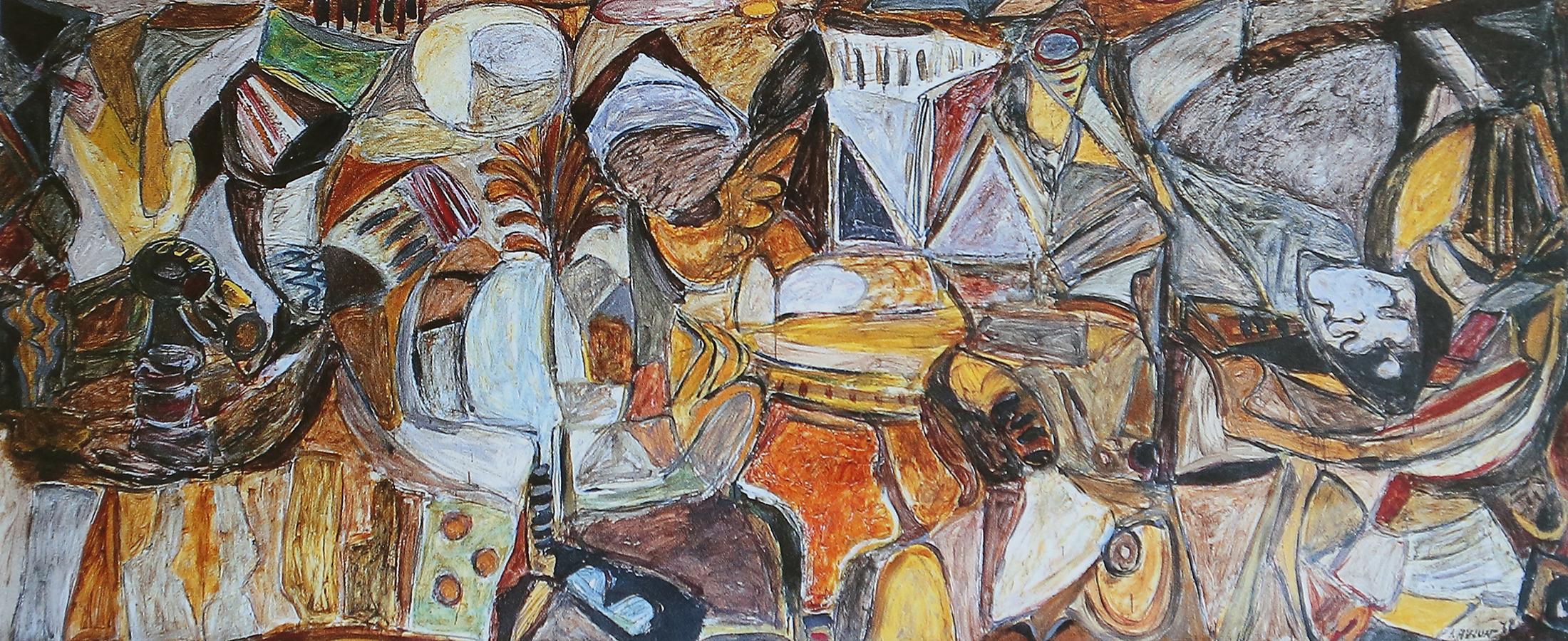Composition 1972 huile/papier marouflé sur toile 170 x 410 cm