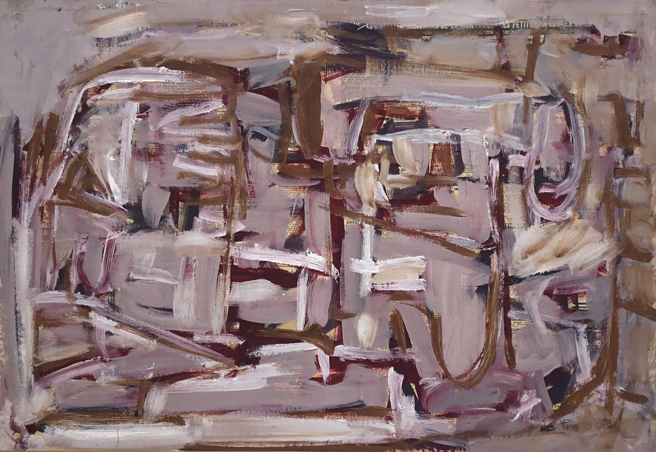Sans titre 1962 huile / papier journal marouflé sur toile 59 x 86 cm