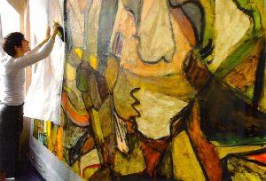 le marouflage aux Ateliers Saint-Martin avec Julie