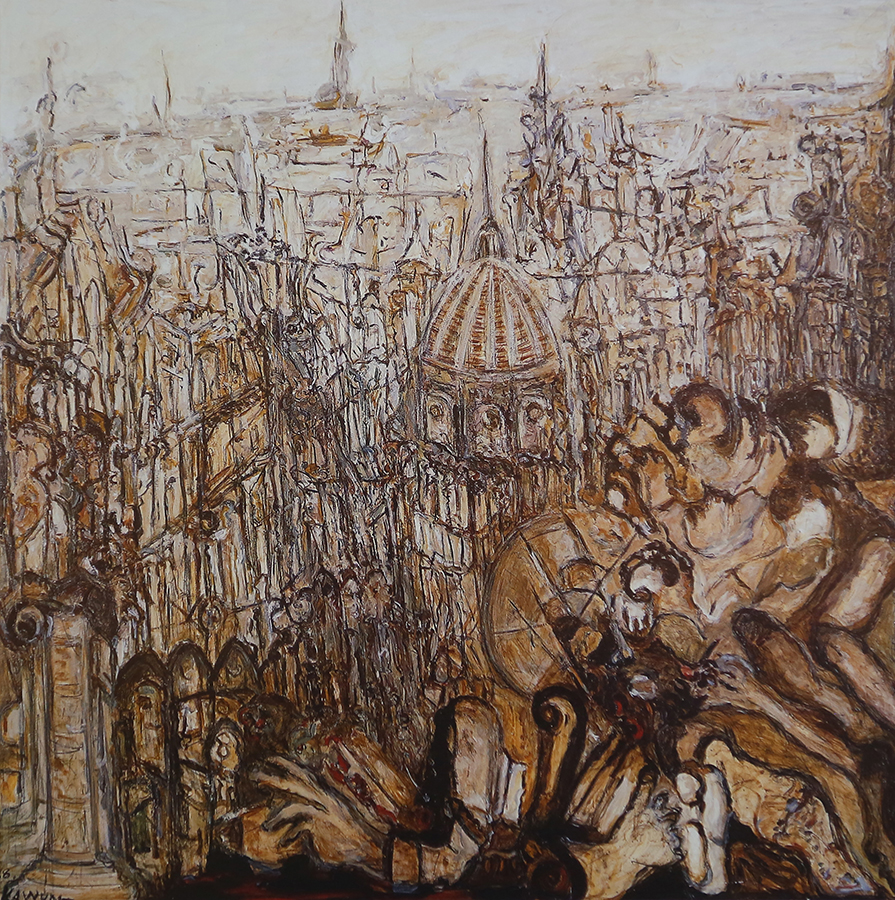 Bataille 1988 huile/toile 220 x 220 cm