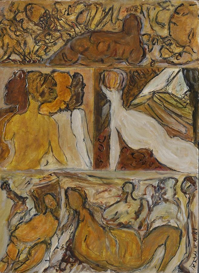 Sans titre 1981 huile/bois 35 x 29 cm