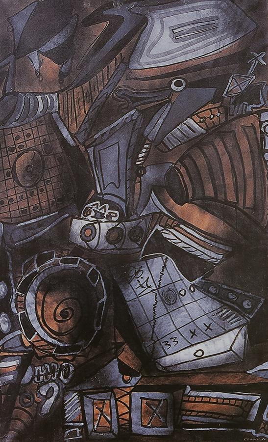 Composition 1970 encre et gouache/papier kraft marouflé sur toile 162 x 100 cm
