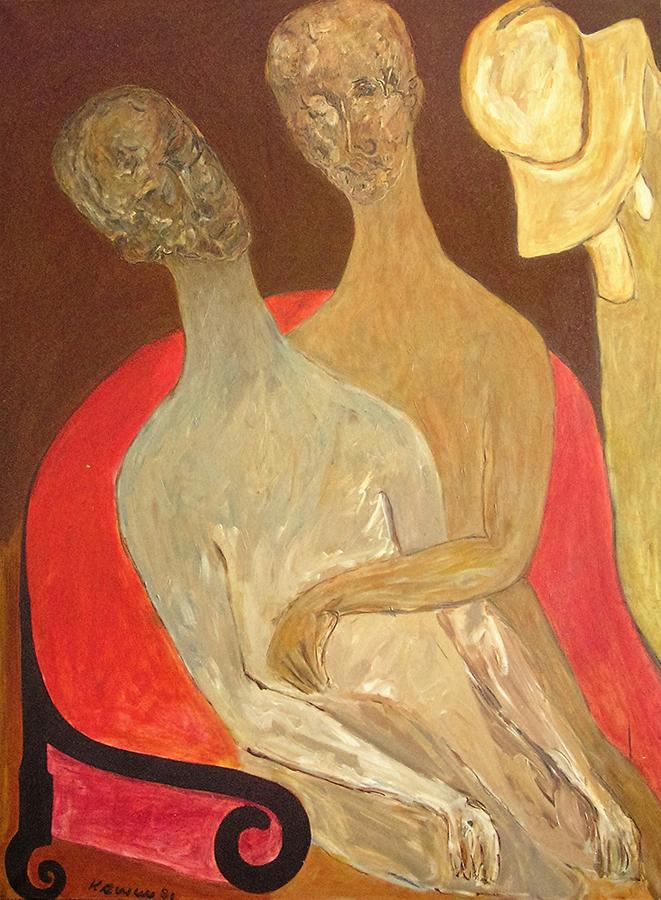 Le Fauteuil rouge 1981 huile/toile 130 x 97 cm