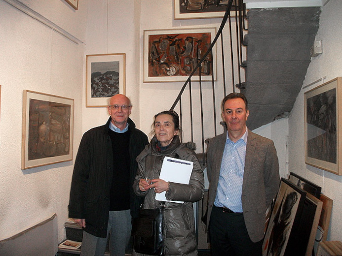 ( après le vernissage, de gauche à droite) Claude et Martine Haaser avec Bertrand Trocmez