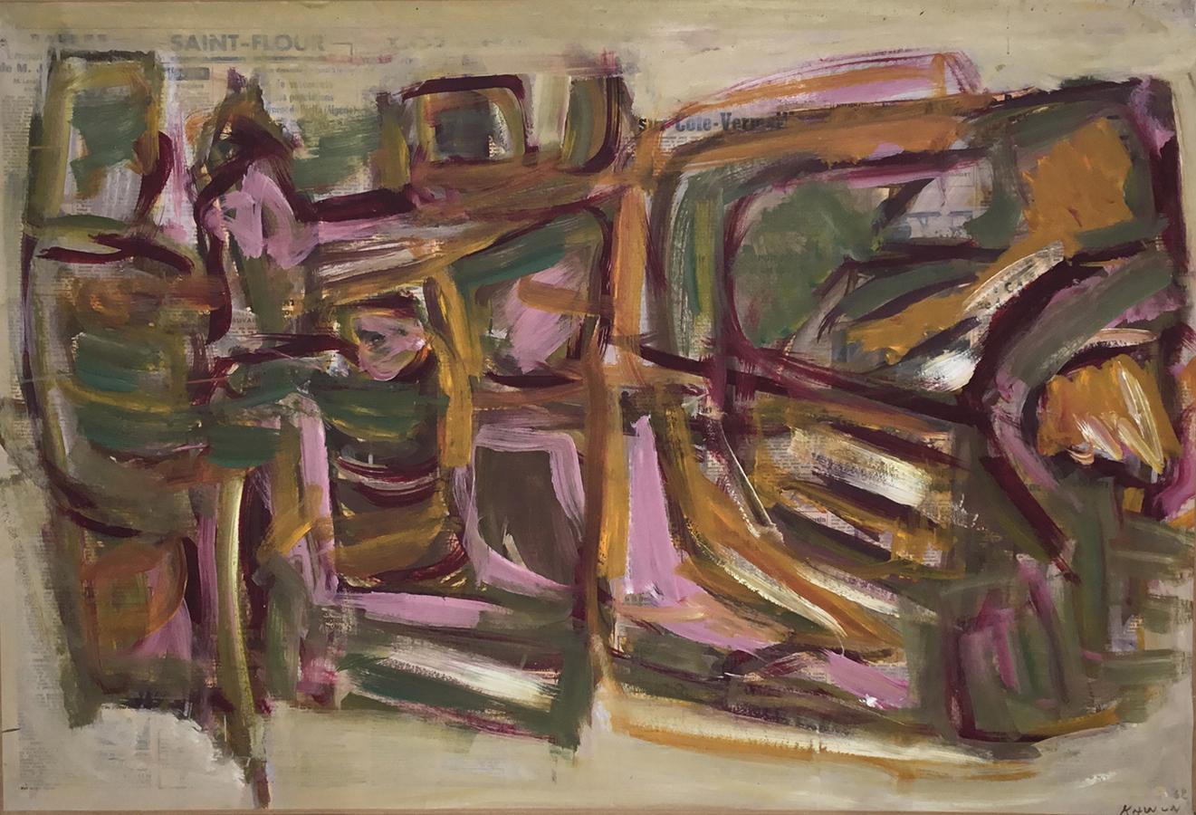 Sans titre 1962 huile/papier journal marouflé sur toile 59 x 86 cm